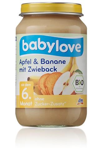 Babylove Apfel & Banane mit Zwieback, 190g