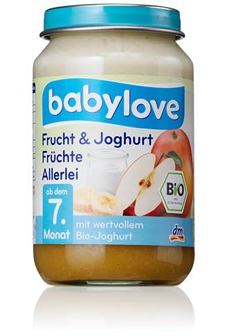 Babylove Frucht & Joghurt, Früchte Allerlei,190g
