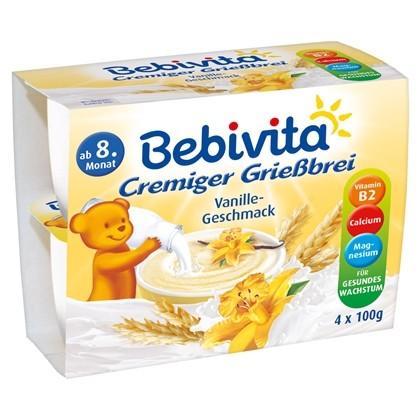 Bebivita Cremiger Griessbrei, Vanille-Geschmack, 4x100g