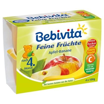 Bebivita Feine Früchte, Apfel-Banane, 4x100g