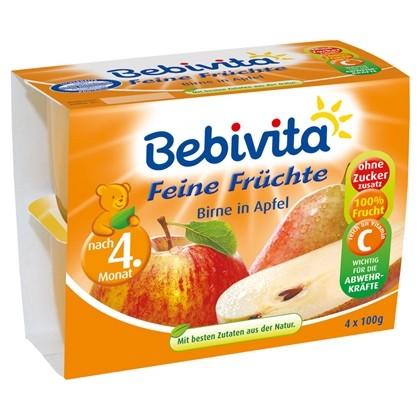 Bebivita Feine Früchte, Birne in Apfel, 4x100g