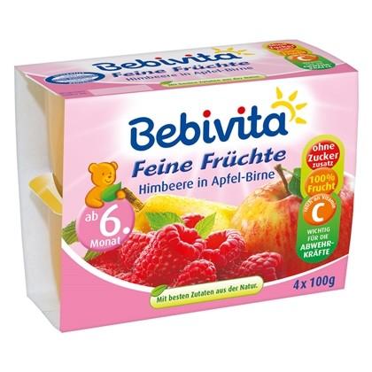 Bebivita Feine Früchte, Himbeere in Apfel-Birne, 4x100g