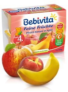 Bebivita Feine Früchte, Pfirsich-Banane in Apfel, 4x100g