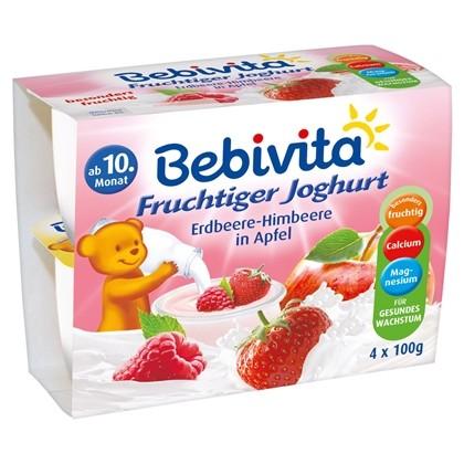 Bebivita Fruchtiger Joghurt, Erdbeere-Himbeere in Apfel, 4x100g