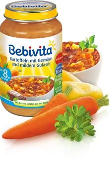 Bebivita Kartoffeln mit Gemüse und mildem Gulasch,220g