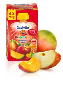 Bebivita Kinder Spass, Apfel-Pfirsich-Mango, 90g