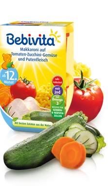 Bebivita Makkaroni auf Tomaten-Zucchini-Gemüse und Putenfleisch,2x250g