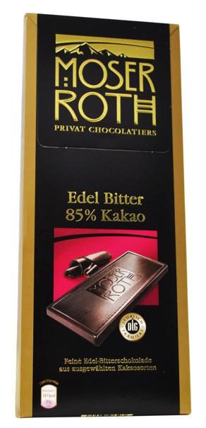 Moser Roth,Edel Bitter, 70% nebo 85% Kakao,125g